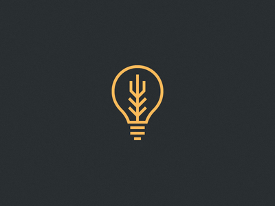 Innovation Icon lightbulb bulb gold line one-color wheat icon