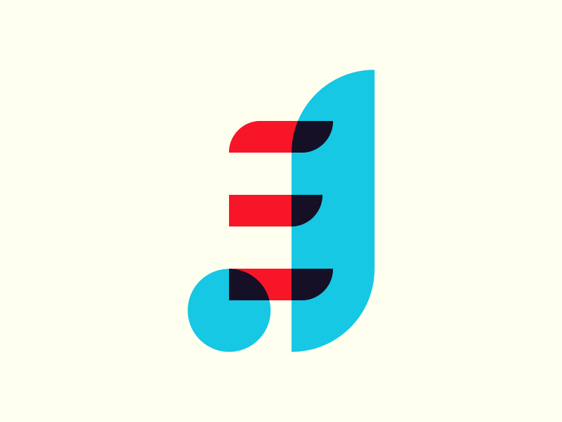 JE Monogram II personal brand jacob etter identity branding shapes j transparency red blue monogram logo