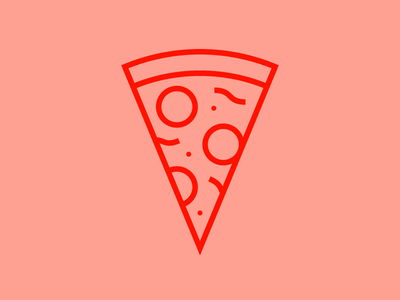 Slice red shapes line simple pepperoni pizza slice pizza