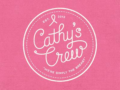 Cathy's Crew T-shirt Design t-shirt pink circle script walk ribbon logo breast cancer