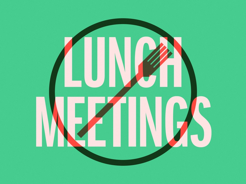 Just Say No mondays lunch meetings meetings type stamp pink green no fork lunch
