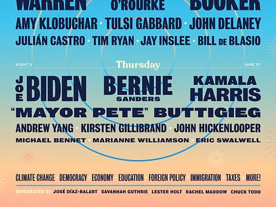2019 Democratic Debates miami 2019 festival united states democracy democrats politics election buttigieg 2020 election debates poster gradient