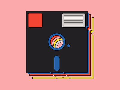 Floppy Boys illustration line simple technology disk retro 5.25 floppy disk floppy
