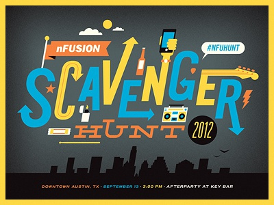nFusion Scavenger Hunt 2012 Poster type poster nfusion austin 2012 atx scavenger hunt