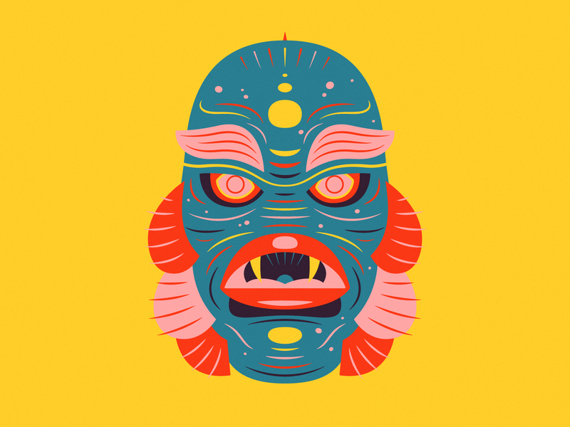 The Creature horror spooky orange yellow color vibrant illustration monster halloween creature from the black lagoon creature