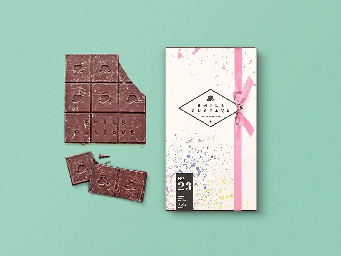 Branding for Emils Gustavs chocolate design packaging vector branding logo