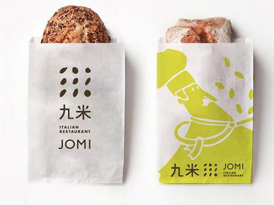 Jomi VI illustration package design ci logo design vi