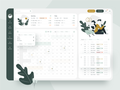 Event calendar minimal service dashboard illustration flat web ui ux design