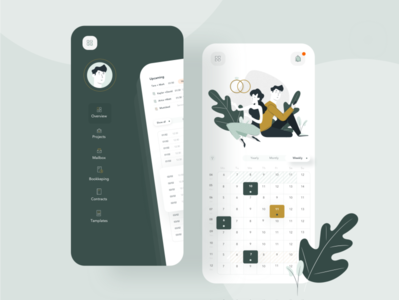 Event calendar app illustration flat mobile web app ux ui design