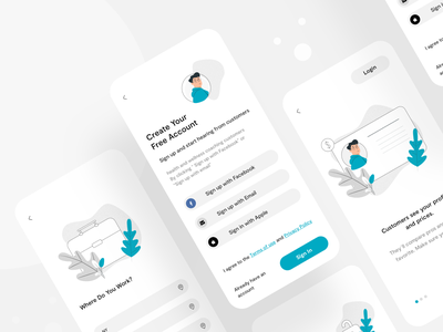 Screens of the first Dating mobile job search app intro onboarding minimal start page service dashboard illustration flat mobile web app ux ui