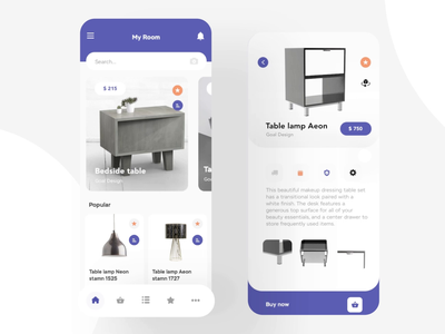 Mobile app for the sale of furniture animation 3d furniture ux minimal flat illustration mobile web app design ui