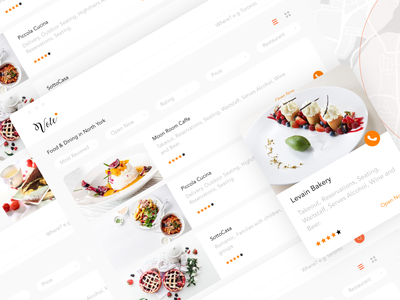 Search restaurants page Vole service type website flat icon typography branding vector logo search dashboard restourant food filter web ux ui design