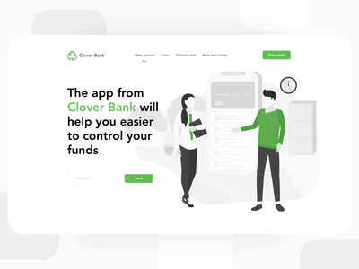 Landing Page for Clover Bank cryptocurrency crypto wallet exchange transfers money flat icon slider banking bank start page animation branding landing illustration web ui ux design