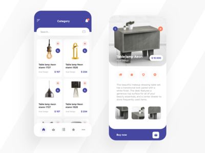 Mobile application for the sale of furniture detail
