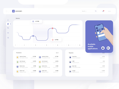 """The statistics page of the website """"concoin"""" falt isometric flat mobile illustration app web ux ui dashboard"""
