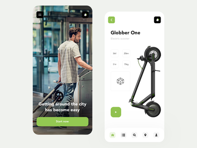 Rental and sale of electric scooters scooter shop rental mobile flat app ux ui design