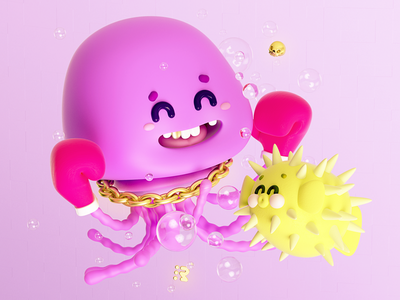 Medusa vs pez globo 🐡 3d 3drender boxeo jellyfish medusa boxing box gloves pez globo sabadraw