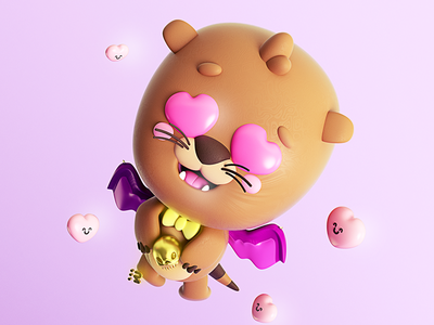 Nutrielago 🦦+🦇+😍 in love enamorado volar happy fly bat murciélago nutria corazón hearts emojis