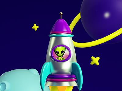 ALIEN VOLANDO aliens ovni cosmo alienware alien illustration c4d cinema4d