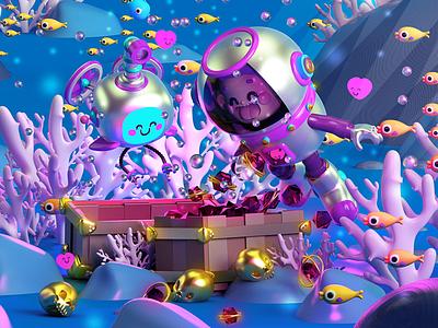 Under the sea 🐠🐟 buzo océan mar robot tesoro diamonds diamantes treasure peces pez