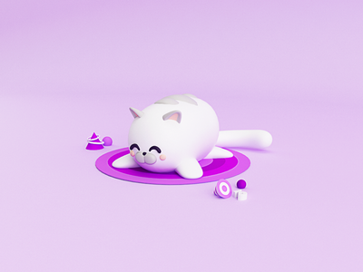 Sleepy kitten 😸 3dmodelling 3dmodel lovecat punk gatito gato purrr 3ddesign 3dart kitten cat c4d cinema4d