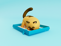 Kitten and his poop box... part II 😺