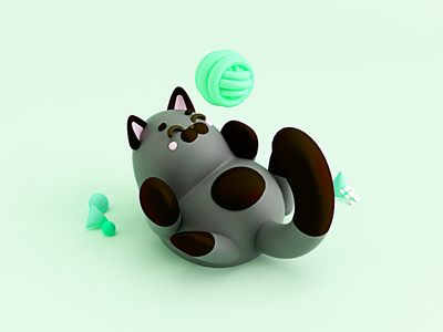 Kitten playing 🎾 negro blackcat cool gato design 3dmodel c4d cinema4d kitty kitten cat