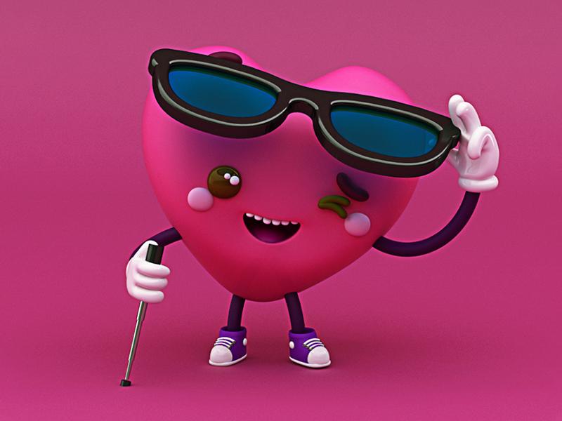 Heartrudo blind ❤️ c4d cinema4d be my valentine san valentín tenis personaje diseño character design glasses blind in love enamorado love amor corazón heart