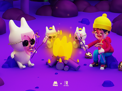 Fogata 🔥 3dmodel 3dart 3d c4d cinema4d bombón bombones marshmellow conejo bunny fire woodfire fogata