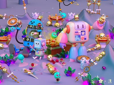 Robot friends 🤖🤖🤖🤖 cool friends 3d 3dart c4d cinema4d cofre tesoro treasure joyas caves drone robots robot