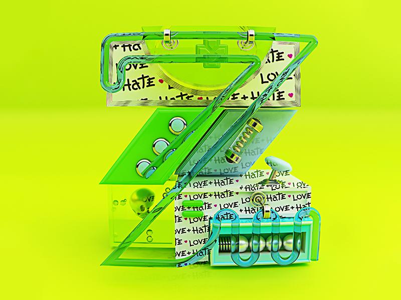 """Letter """"Z"""" 3d skull hate love 36dot 36days-z 36daysoftype-z 36daysoftype 36"""