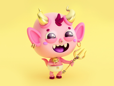 Pinky Diablito 😈✨ evil devil bad skull cráneo bonito rosa kawaii cute 2cute2fail pictoplasma diablito