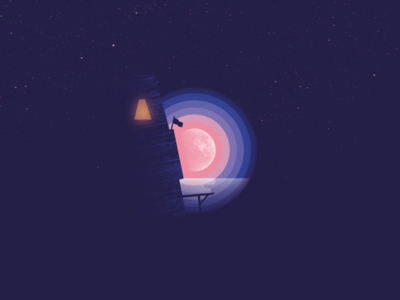 Letter D - Moon rising over the sea
