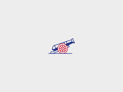 Flying like a cannon ball army coat of arms flat minimal logo icon cannon
