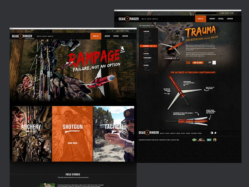 Dead Ringer Hunting e-commerce hunting page home website