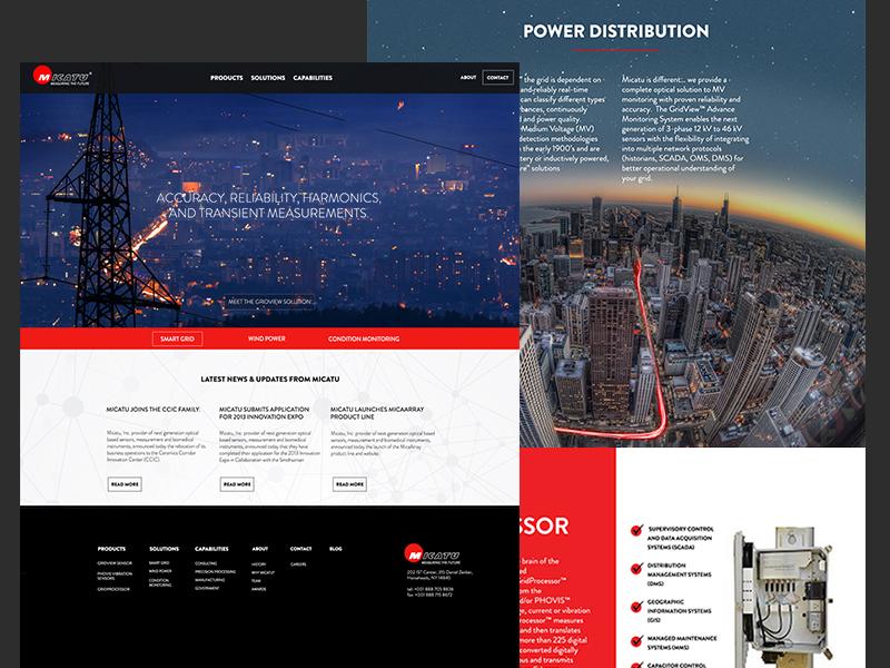 Micatu photonics ui web design