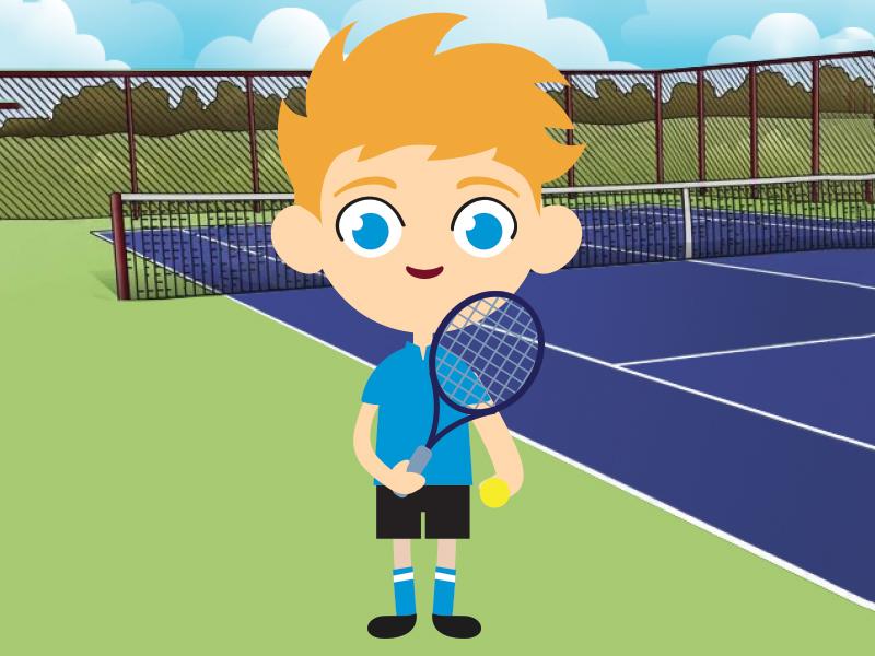 Tennis Timmy brochure children kids flat vector illustration