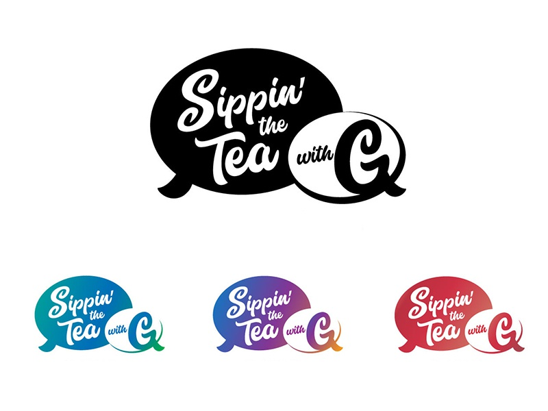 Sippin' the Tea vector gradient typography thumbnails podcast logotype logo branding brand