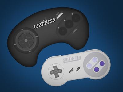 Classic Controllers illustrator vector controllers genesis snes