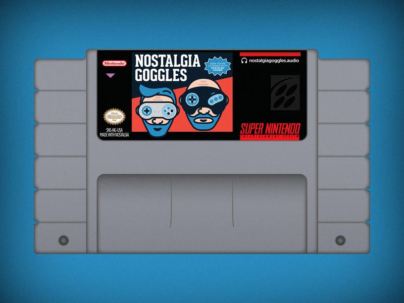 Nostalgia Goggles SNES Cartridge vector flat cover gamer videogames games retro cartridge podcast nostalgia goggles snes super nintendo