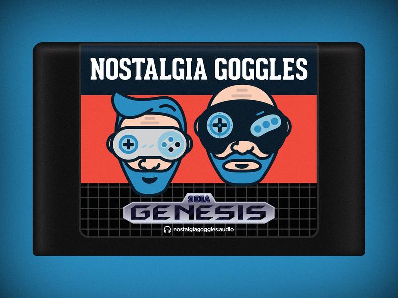 Nostalgia Goggles Genesis Cartridge vector flat videogames cartridge games retro sega genesis podcast nostalgia goggles