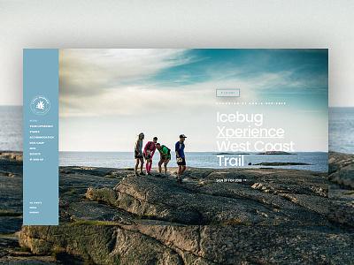 Icebug Xperience menu vertical sidebar homepage hero website icebug running