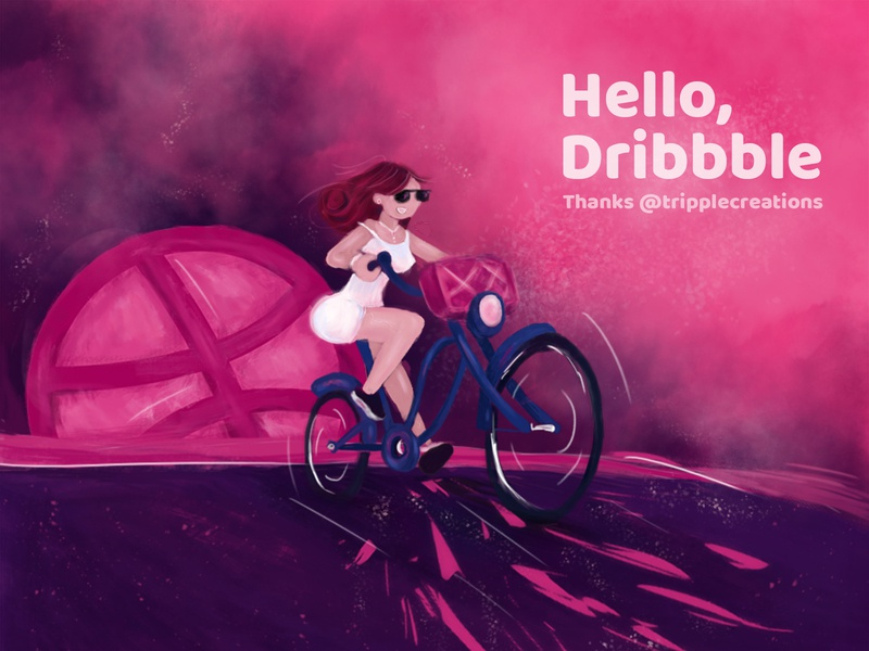 Hello Dribbble illustration design firstshot welcome shot dribbble best shot dribbble invite hello dribble hello thank