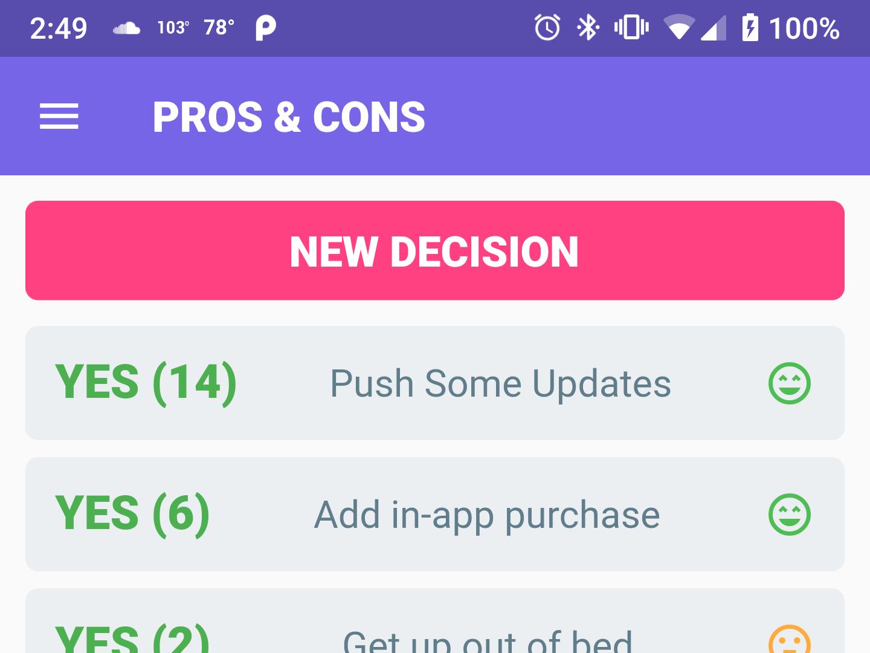 PROS & CONS Mobile App Design android flutter app design mobile purple ui app