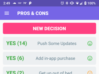 PROS & CONS Mobile App Design