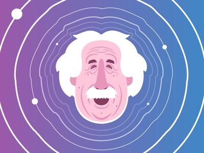 Einstein - Gravitational Waves universe physics history character cartoon illustrator space gravitational waves science illustration einstein