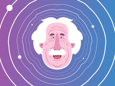 Einstein Gravitational Waves Final einstein illustration science waves gravitational space illustrator cartoon character history physics universe
