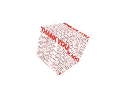 Thank You red you thank 3d square rotate spin 2d mograph loop animation motion gif
