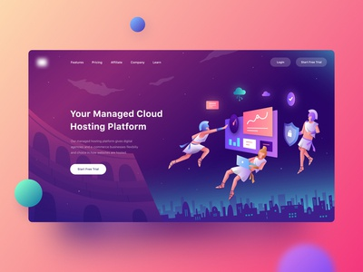 Cloud Hosting Website - Header Illustration website web design ux ui project product design product modern mobile marketing landing page illustration hosting header illustration header dashboard cloud hosting