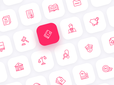 Indonesian Law Iconset website mobile ui kit ux ui product design product red outline icon outline line art illustration icons iconset icon indonesian law law indonesia
